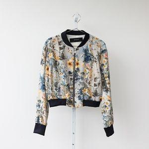 Zara Basic Collection Floral Bomber Jacket
